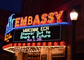 The Embassy Theater marquee at night